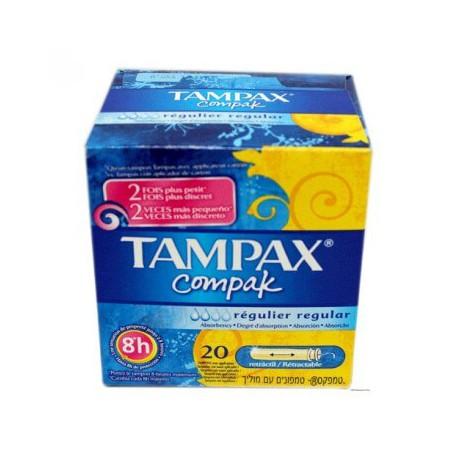 TAMPAX COMPAK TAMPON 100  ALGODON  REGULAR 22 U